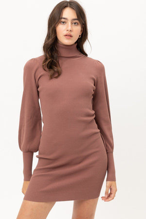Turtle Neck Sweater Dress Knitted Belle Boutique