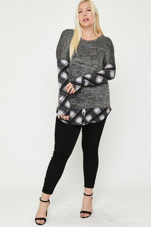 Two Tone Knit Top Knitted Belle Boutique