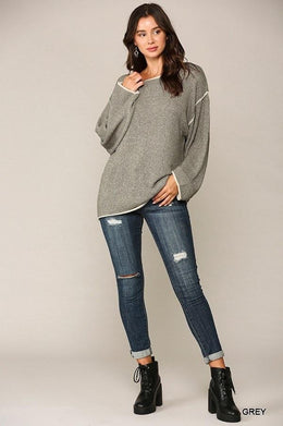 Two-tone Sold Round Neck Sweater Top With Piping Detail Knitted Belle Boutique