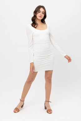 U Neck Of Front And Back Side, Basic Rib Dress With Long Sleeve Knitted Belle Boutique