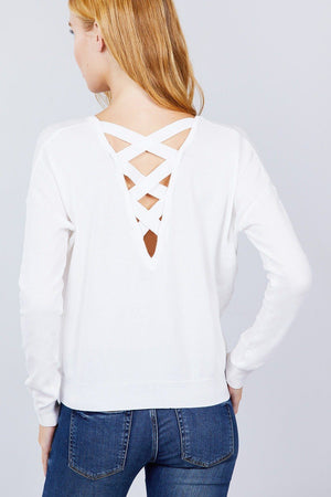 V-neck Back Cross Sweater Knitted Belle Boutique
