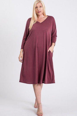 V Neck Hidden Pocket Swing Dress Knitted Belle Boutique