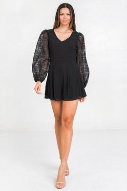 V Neckline Solid Romper Knitted Belle Boutique