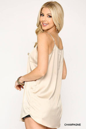 Velvet Mixed Adjustable Strap Round Hem Camisole Knitted Belle Boutique