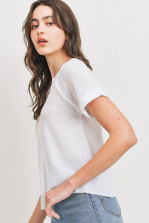 Waffle Raw Edge V-neck Rolled Up Short Sleeves Top Knitted Belle Boutique