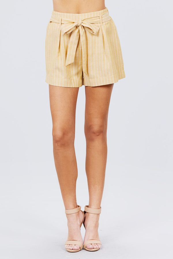 Waist Bow Tie Y/d Stripe Short Pants Knitted Belle Boutique