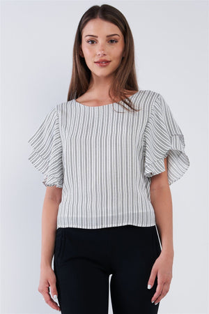 White Black Striped Ruffled Sleeve Backless Belted Blouse Top Knitted Belle Boutique