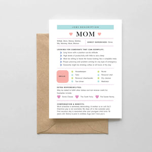 Mom: Job Description Card