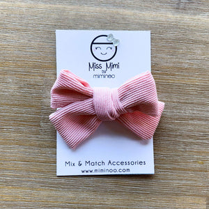 Corduroy Hair Bow: Alligator Clip Pink