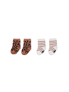 Terracotta Stripe/Ocelot 2Pk Socks