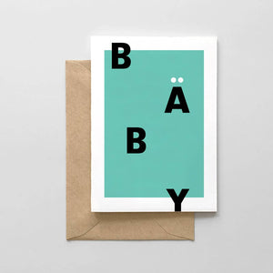 Baby Typographic Card - Mint