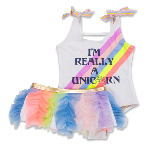 I'm Really a Unicorn Scoop Swimsuit Set