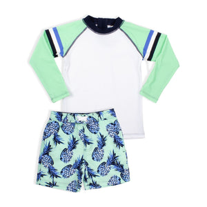 Rashguard & Trunk Set - Mint Pineapple