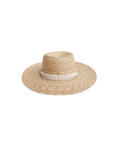 Ribbon Wide Brim Hat Natural