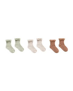 Lace Trim Socks Set Of 3 Sage-Shell-Terracotta