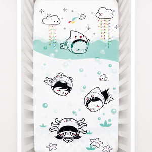 Rookie Humans Cotton Sateen Crib Sheet: Dive In