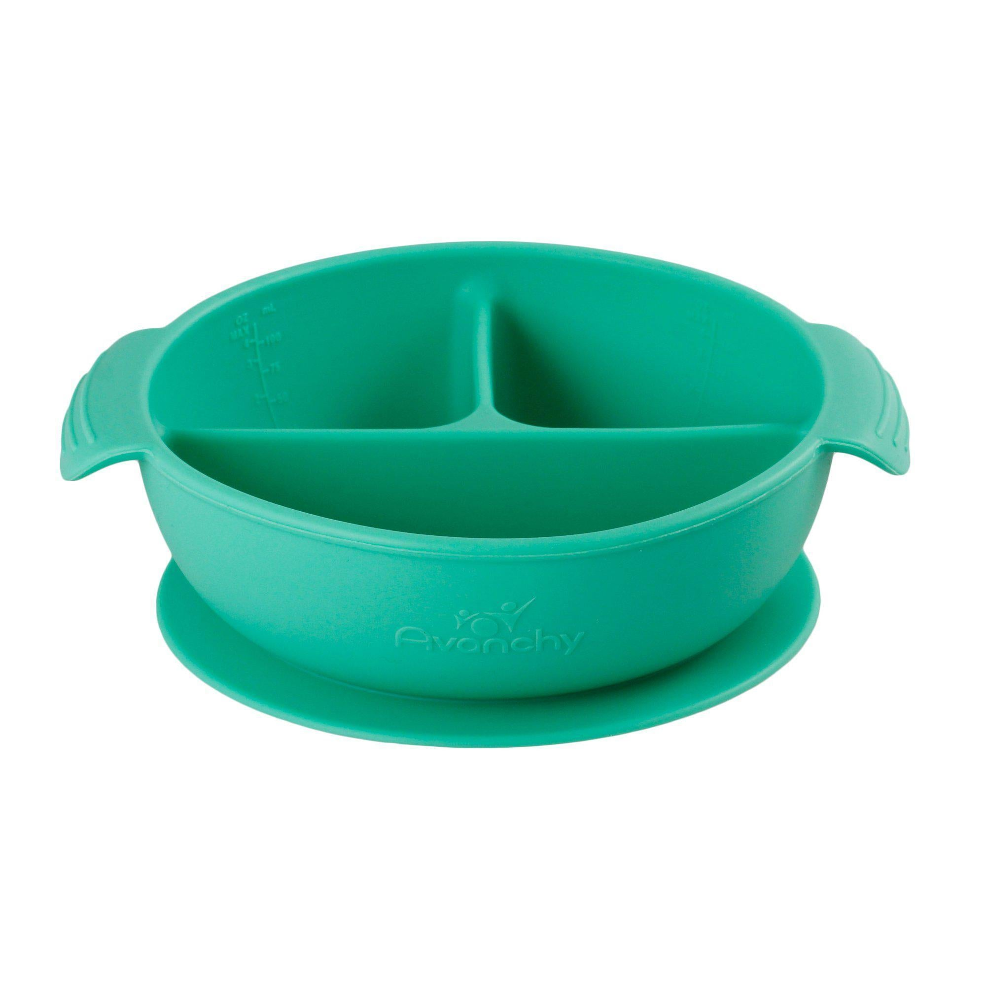 Silicone Suction Divided Baby Bowl + Lid Green