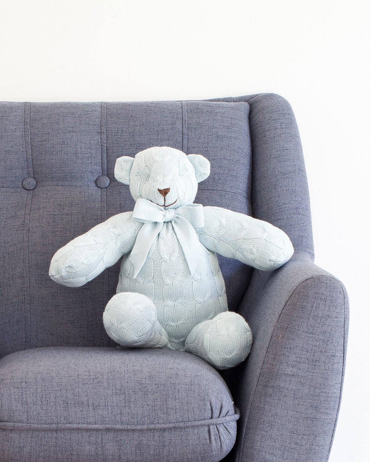 Plush Cable Knit Teddy Bear - Blue