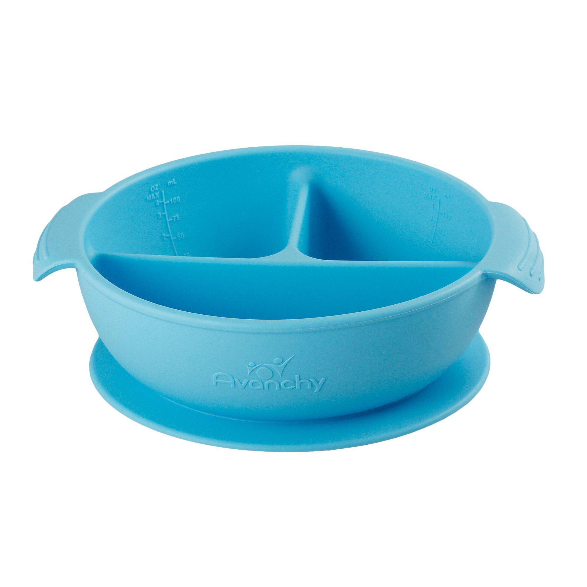 Silicone Suction Divided Baby Bowl + Lid Blue
