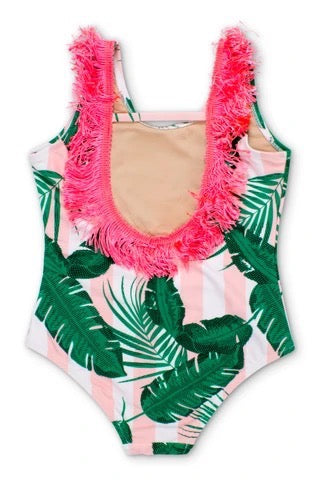 Mint Cabana Botanical Scoop Swimsuit with Fringe