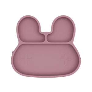 Bunny Stickie Plate Dusty Rose