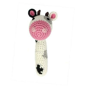 Cow Stick Hand Crocheted Rattle