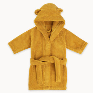 Organic Cotton Hooded Robe for Babies and Toddlers in Ochre