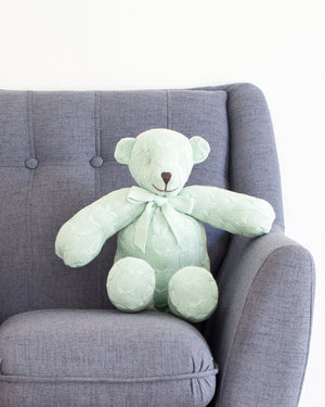Plush Cable Knit Teddy Bear - Mint