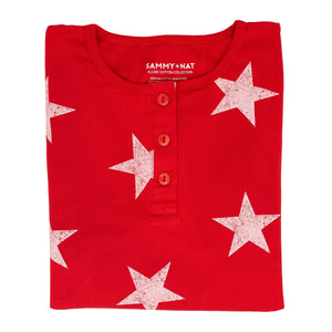 White Star Pajama Set for Mom - Red
