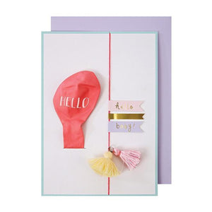 Hello Pink Balloon Card