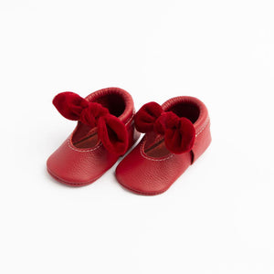 Red Velvet - Knotted Bow Moccasin