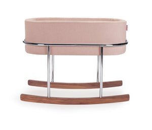 Rockwell Bassinet- Blush with Chrome/Walnut Base