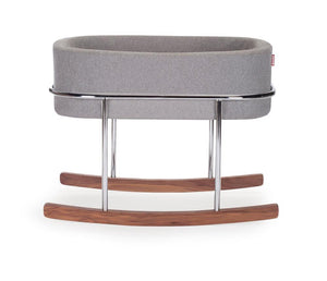 Rockwell Bassinet- Heather Grey with Chrome/Walnut Base