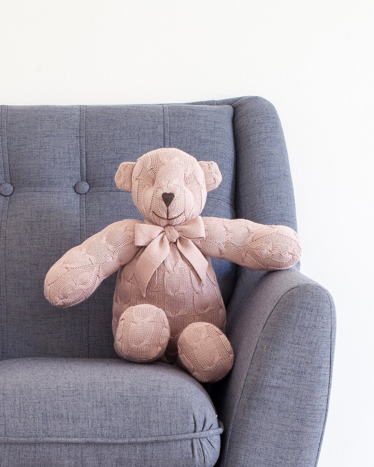 Plush Cable Knit Teddy Bear - Rose