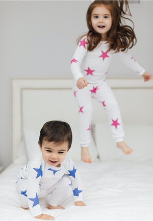 Bold Star Pima Pajama Set - Navy