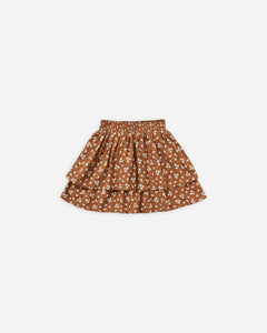 Ditsy Tiered Mini Skirt - Cinnamon