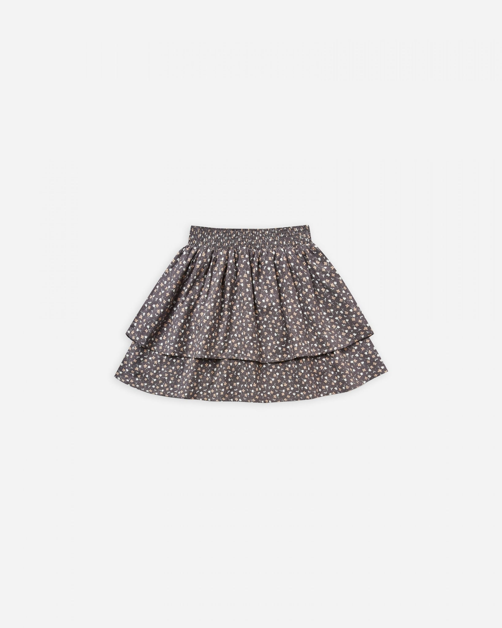Ditsy Tiered Mini Skirt - Washed Indigo