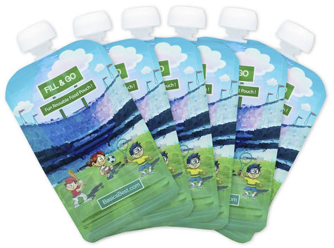 Reusable Food Pouch, Perfect for Organic and Homemade Baby Food, 6 Pouches, U.s. Lab Verified Safe, Extra Strength Zip-lock System, Great for Parents Who Are on the Go. 100% Satisfaction Guaranteed