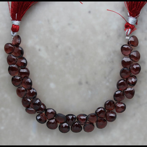 Garnet Faceted Heart Briolette 7mm
