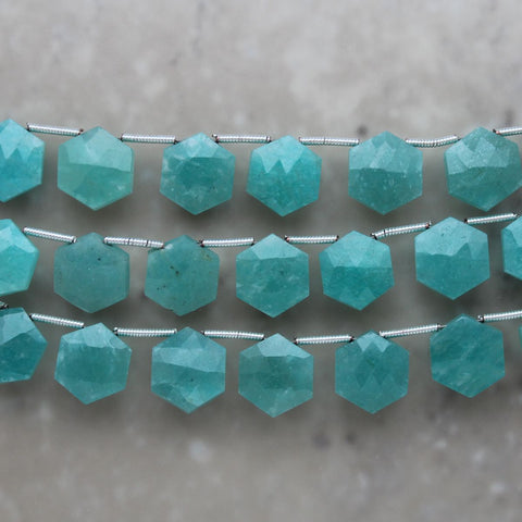 Amazonite Faceted Hexagon Briolette 10mm x 11.5mm