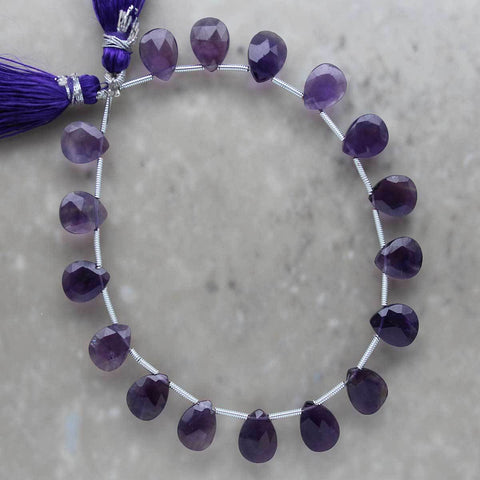 Amethyst Faceted Almond Briolette 8mm x 10mm