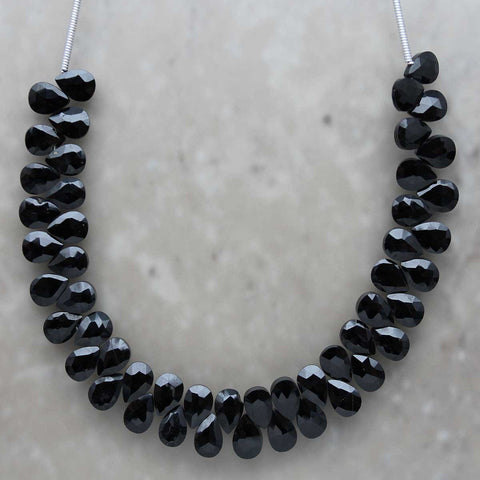Black Garnet Almond Briolette 5mmx7mm
