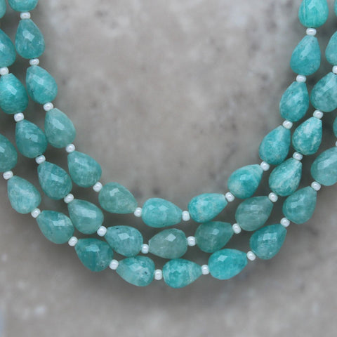 Amazonite Faceted Teardrop 6mm x 8mm