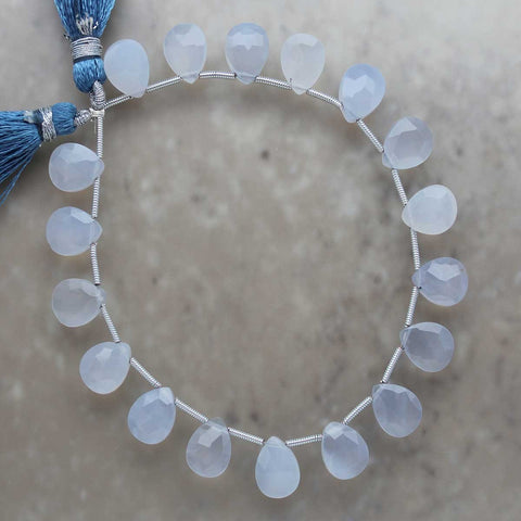 Blue Chalcedony Faceted Almond Briolette 8mm x 10mm
