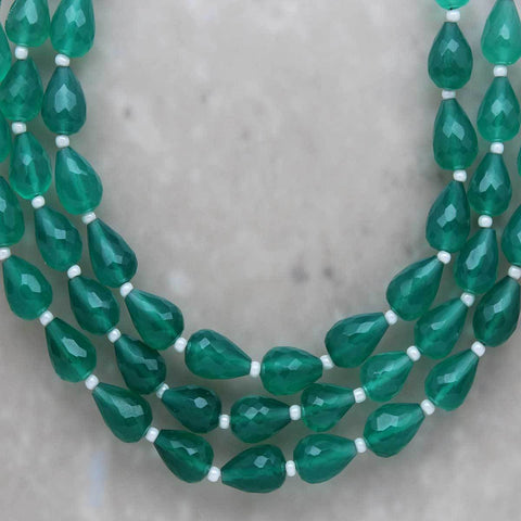 Green Onyx Faceted Teardrop 6mm x 8mm