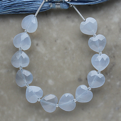 Blue Chalcedony Faceted Heart Shape 10mm