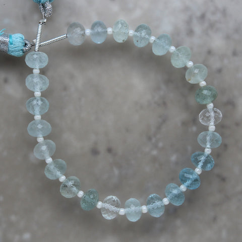Aquamarine Multi Shade Faceted Rondelle 7mm