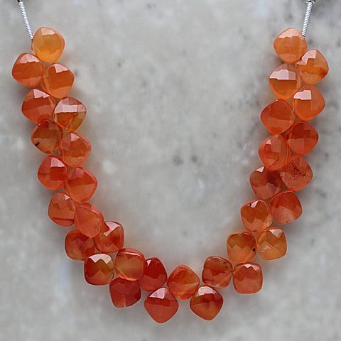 Carnelian Faceted Diamond Briolette 7.5mm