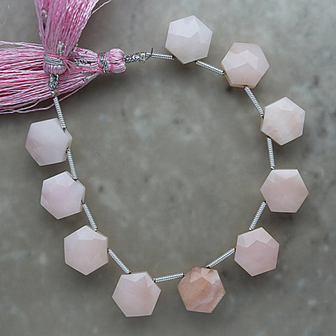 Pink Opal Faceted Hexagon Briolette 10mm x 11.5mm