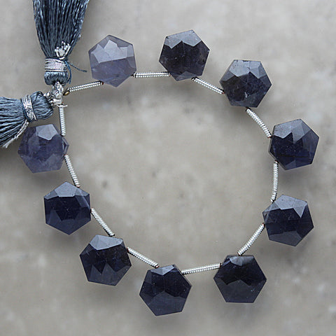 Iolite Faceted Hexagon Briolette 10mm x 11.5mm